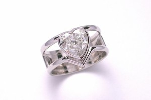 bespoke 2.50ct heart cut diamond dress ring handmade in platinum by charmian beaton design