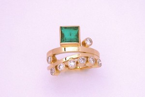 Bespoke 4.23ct square cut emerald and diamond set ring, handmade in 18ct yellow gold by charmian beaton design