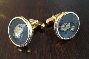 Bespoke 18ct gold cufflinks with inset pyrite slate, handmade by Charmian Beaton design