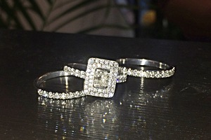 bespoke 18ct white gold and diamond dress ring suite by charmian beaton design