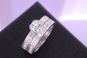 bespoke 18ct white gold and diamond engagament and wedding ring suite  handmade by charmian beaton design