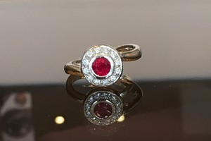 Bespoke Ruby and diamond dress ring handmade in 18ct white gold by charmian beaton design