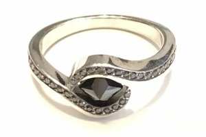 Black diamond and palladium ring by award winning Charmian Beaton