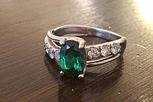 Green tourmaline and diamond 18ct white gold bespoke commission handmade by Charmian Beaton Design
