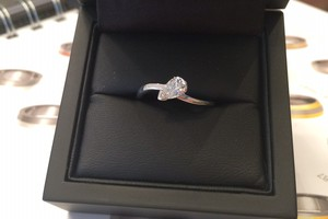 handmade 18ct white gold and pear cut diamond ring by award winning charmian beaton design