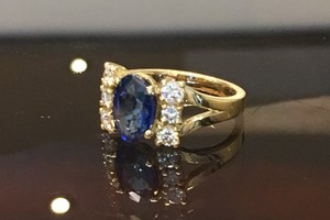 handmade 18ct yellow gold, sapphire and diamond ring by charmian beaton design for trade client