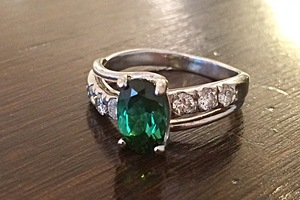 handmade ring in 18ct white gold tourmaline and diamond remodel by charmian beaton deisgn