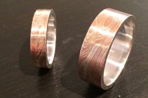 Mokume gane wedding rings handmade by charmian beaton design