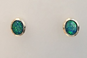 Opal stud earrings handmade by charmian beaton design