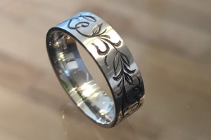 Palladium engraved thumb ring by charmian beaton design