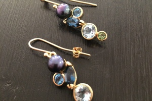 Pearl and gem set 18ct gold earrings bespoke commission handmade by Charmian Beaton Design