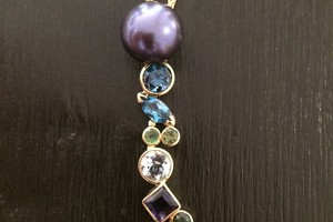 Pearl and gem set 18ct gold pendant bespoke commission handmade by Charmian Beaton