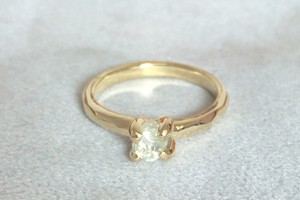 rough diamond set in 18ct yellow gold by charmian beaton design