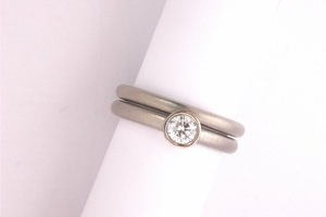 .50ct brilliant cut diamond bespoke wedding ring and engagment ring suite in 18ct white gold by charmian beaton design