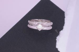 .50ct princess cut diamond bespoke engagement and diamond set wedding ring suite, handmade by charmian beaton design