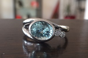 Aqua marine and diamond handmade ring by charmian beaton design
