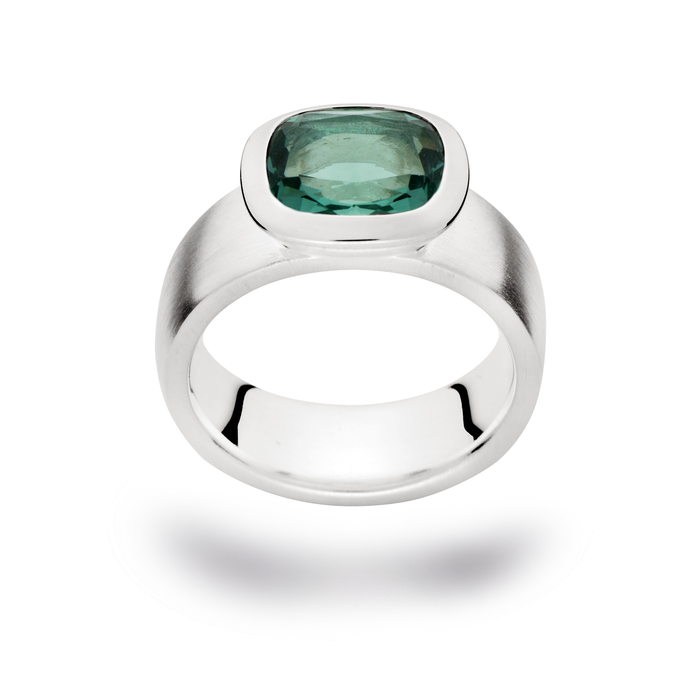 Chunky silver and green amethyst ring