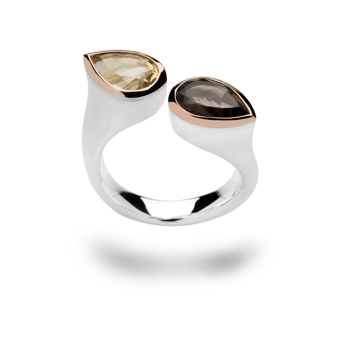 Smokey quartz and champagne quartz cocktail ring