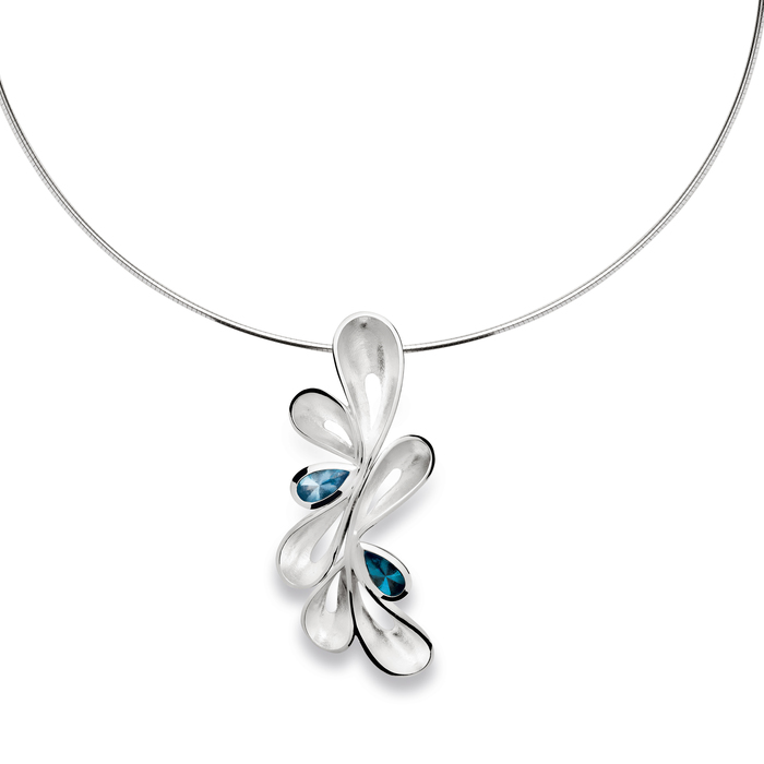 Statement wave pendant set with blue topaz