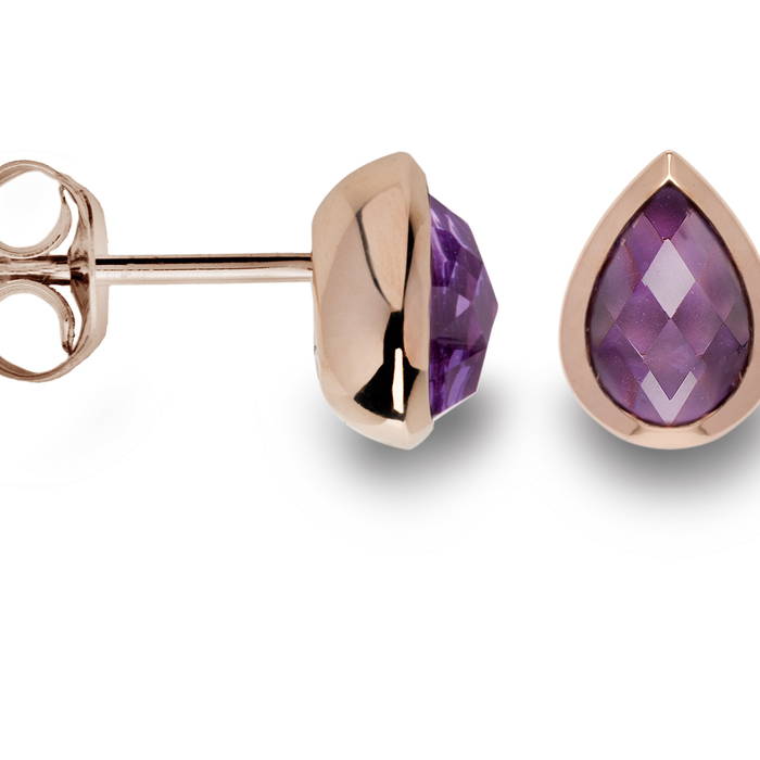 Sterling silver and rose gold plated amethyst earrings