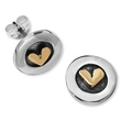 Gold heart stud earrings by Linda Macdonald