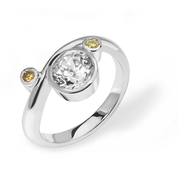 Eva  - contemporary platinum and diamond engagement ring