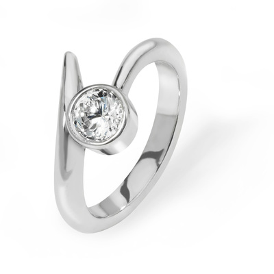 Jade - contemporary platinum engagement ring with 0.50 ct brilliant cut diamond