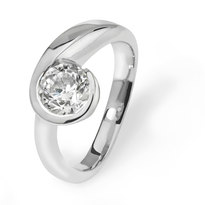 Kayla - contemporary platinum engagement ring 1 ct diamond