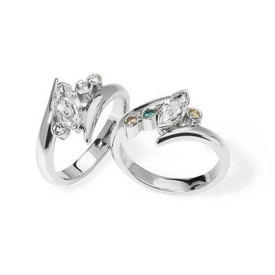 Saffron - contemporary platinum engagement rings set with white, cognac and blue diamonds
